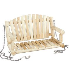 Traditional Style Porch Swing Loveseat in Natural Cedar Wood - Quality House