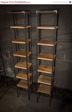 ETSY SALE SET of Contemporary Bookshelves: Maple and Steel Display Shelves