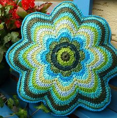 Crocheted flower cushion. #crochet