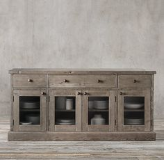 Salvaged Wood Glass Dining Sideboard in salvaged grey, from restoration hardware