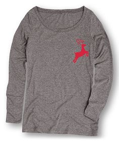 Look what I found on #zulily! Athletic Heather Small Reindeer Long-Sleeve Tee…
