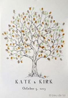 Hochzeit Gast Buch Alternative Fingerabdruck Baum von bleudetoi