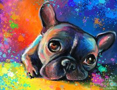Whimsical Colorful French Bulldog painting <3