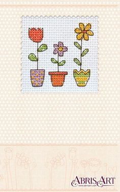 Cross stitch kit Postcard Do it yourself Flowerpots by AbrisA