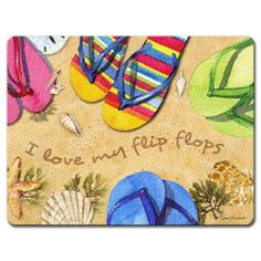 It's a Flip Flop Kind of Day Summer Fun Tempered Glass Large Cutting Board by Highland Graphics. $18.99. Made of strong tempered glass. Shatter and heat-resistant. Non-porous surface resists stains, scratches and bacteria. Non-skid feet protect countertop surface. Measures 12 x 15 inches. The colorful, artistic design adds complimentary elements to your kitchen or dining room, and proves to be an excellent serving piece for entertaining. This cutting board features sturd...