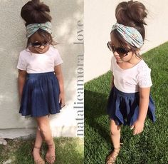 I hope August's hair grows out so I can do this. I love big buns and scarves tied on the head. I can even sew the scarves to and elastic piece to make it stay on better. Women, Men and Kids Outfit Ideas on our website at 7ootd.com #ootd #7ootd
