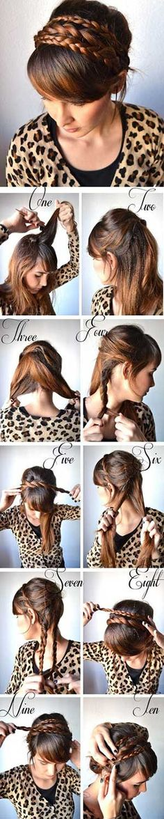 How to Make Twist Headband And Braid #hair #pictorial