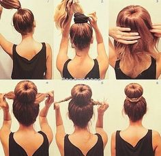 Sock Bun tutorial: This is much simpler than trying to roll the hair down with the sock ring. It works well on medium length layered hair and works on wet hair. I skip step 1 though and just pull all my hair through the sock ring, then add the hair elasti Braided Bun Hairstyles, Fast Hairstyles, Elegant Hairstyles, Formal Hairstyles, Bouffant Bun, Bun Updo, Medium Length Hair With Layers, Victorian Hairstyles, Layered Hair