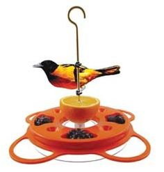 Three-way Oriole Feeder for nectar, jelly and oranges.