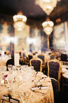 Ornate table linens, elaborately covered chairs and full place settings are just a few of the special touches that give The Ruins it's opulent character. Photos by Clane Gessel Photography | #theruins #seattle #weddings