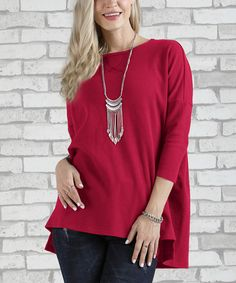 Take a look at this Red Three-Quarter Sleeve Thermal Tee - Plus Too today!
