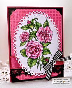 ChristineCreations: Power Poppy December Blog Hop - Camellias digital stamp by Power Poppy, card design by Christine Okken.