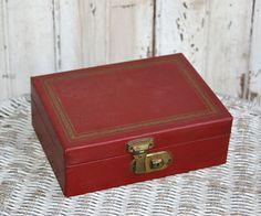 50s Red Vintage Jewelry Box Small Jewelry Box Red Jewelry Box Jewel Box Vanity…