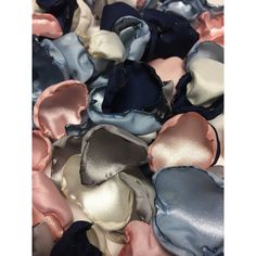 Blush pink, grey/silver, ivory, navy blue dusty blue flower petals,... ($3) ❤ liked on Polyvore featuring home, home decor, navy blue home decor, silver home accessories, gray home decor, silver home decor and grey home decor