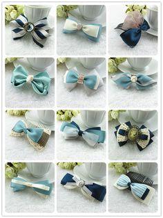 复古蓝色系列丝带套装 DIY发饰新手材料包饰品配件批发蝴蝶结发夹