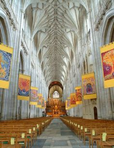 winchester cathedral, Hamshire England.  Jane Austen is buried in the Nave.