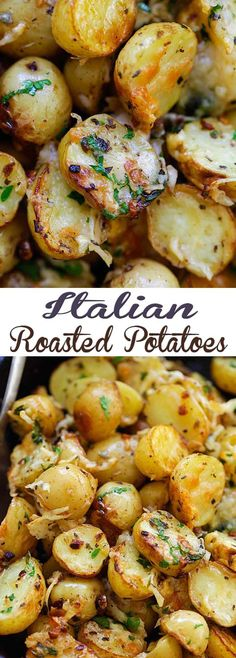 Healthy Recipes : Illustration Description Italian Roasted Potatoes – buttery, cheesy oven-roasted potatoes with Italian seasoning, garlic, paprika and Parmesan cheese. So delicious -Read More – Potato Dishes, Vegetable Side Dishes, Food Dishes, Oven Potato Recipes, Chicken Recipes, Cheese Dishes, Shrimp Recipes, Food Food, Cooking Recipes