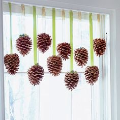Give a plain window a new outlook with a simple pinecone valance. - FamilyCircle.com
