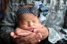 Army hair bow and headband... normally not a fan of cheesy army clothes or photo ops but this is too cute.