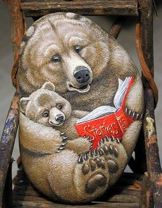 Painted Stone Art - Mama bear reading to her cub.