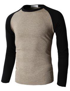 Doublju Men's Crewneck Fashion T-Shirt With Different Color Long Sleeves (KMTTL0169) #doublju