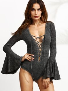 Grey Lace Up Plunge Neck Bell Sleeve Bodysuit