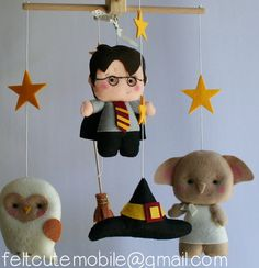 Harry Potter Mobile, Baby Crib Mobile, Nursery, Wizard, Furniture, Felt, Bedding, Harry Potter, Dobby, Sorting Hat, Broomstick, Hedwing BB