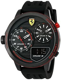 Ferrari Men's 'XX Kers' Quartz Stainless Steel and Silicone Casual Watch, Color:Black (Model: 0830318)