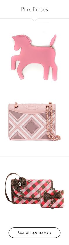 """""""Pink Purses"""" by eternalfeatherfilm on Polyvore featuring bags, handbags, clutches, bolsos, unicorn, pink clutches, pink handbags, pink purse, shoulder bags and pink"""