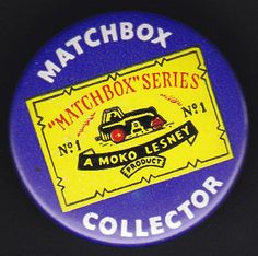 Vintage Moko Lesney MATCHBOX CAR COLLECTOR Toy Advertising Pin Pinback Button