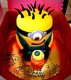 Gourmet Bakery, Specialty Cakes, Minions, Birthday Cake, Sweet, Desserts, Food, Birthday Cakes, Meal