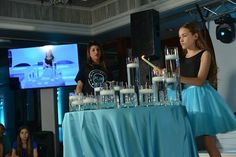 Turquoise Blue Bat Mitzvah Candle Lighting with Vases of Different Heights {Westminster Hotel NJ, Brad Photographers & Video} - mazelmoments.com