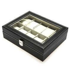 10 Grid Jewelry Watch Collection Display Storage Leather Box Case