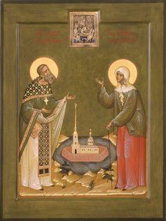 Икона Свв. Иоанн Кронштадский и Ксения Петербургская
