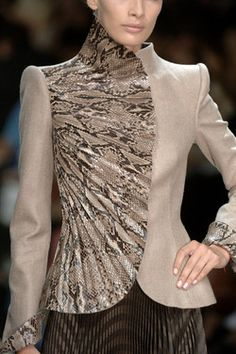 Armani Prive Fall 2006 Details - LOVE this jacket. The overall shaping flatters the female body. The patterned, gathered fabric used only on one side creates additional fan-like lines which repeat the general shape while providing an extra thrill.