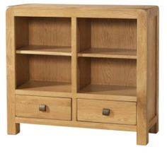 Buy the Avon Oak Furniture Low Bookcase with 2 Drawers from Oak Furniture House with free delivery* Bookcases For Sale, Black Bookcase, Small Bookcase, Cube Bookcase, Etagere Bookcase, Pine Bedroom Furniture, Oak Furniture House, Corner Display Unit, Manualidades