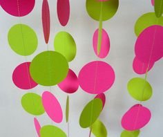 Hot Pink & Lime Green Paper Garland, Birthday Decoration, Girl's Party Decor