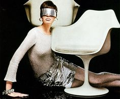 """Get the Look Decor: In the Year 2000"": ... I (we) often think of leather, chrome and Lucite as ""futuristic."" These materials often showed up in vintage furnishings from the 1960s. In fact, the bold geometry used in science fiction can be found in Mod decor from that era..."