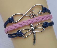 Infinity bracelet dragonfly bracelet antique by endlesslovegift, $4.25