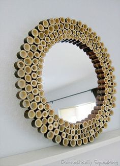 Make a bamboo sunburst mirror using bamboo fencing. It's an easy DIY project using bamboo pieces, a craft mirror and glue. Bamboo Mirror, Bamboo Art, Bamboo Crafts, Bamboo Ideas, Black Bamboo, Faux Bamboo, Diy Décoration, Easy Diy, Diy Crafts