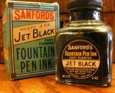 Sanford's Jet Black FOUNTAIN PEN INK - vintage fun!  http://www.etsy.com/listing/95098406/vintage-office-sanfords-jet-black-ink