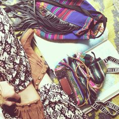 Ethnic textiles and leather fringe bags
