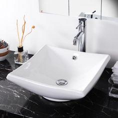 Yescom Round/Square/Oval/Rectangle Tabletop Bathroom Porcelain Vessel Sink White Ceramic Basin w/ Chrome Drain