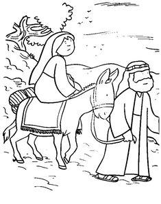 Leuk voor kids kleurplaat ~ Jozef en Maria op weg naar Bethlehem