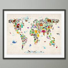 Nursery printable animal world map kids world map poster nursery animal map of the world art print gumiabroncs Choice Image