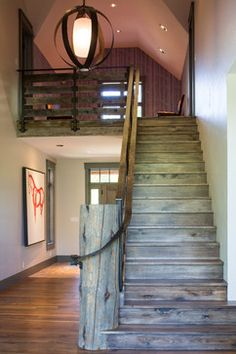 industrial rustic staircase, modern country