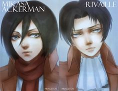 Mikasa + Rivaille Postcards by Londei. - Michael Adkins - Google+
