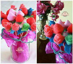 Flores de chuches | VotaDIY Diy Originales, Raspberry, Candy, Fruit, Desserts, Blog, Handmade, Bar Ideas, Ideas Para