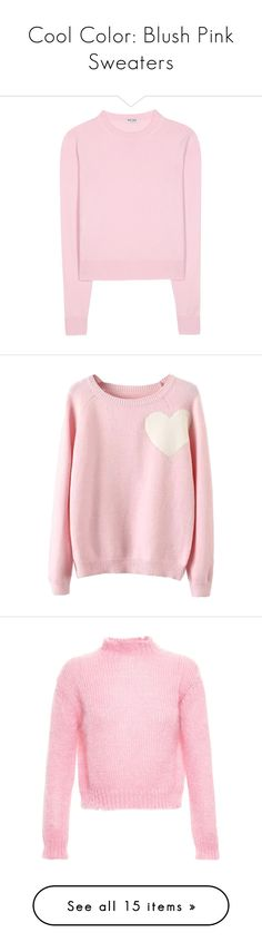 """Cool Color: Blush Pink Sweaters"" by polyvore-editorial ❤ liked on Polyvore featuring blushpinksweaters, tops, sweaters, shirts, pink, miu miu shirt, pink top, cashmere sweater, pink cashmere sweater and shirt sweater"
