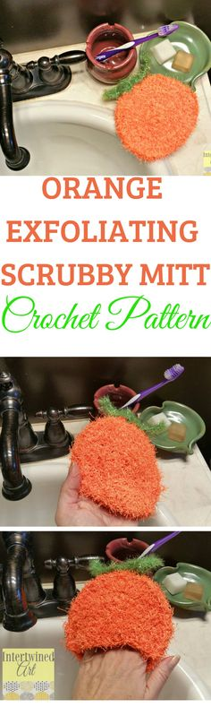Perfect for an at-home spa day, this Crochet Orange Exfoliating Scrubby works up quickly with this free pattern! Made with Red Heart Scrubby Yarn.